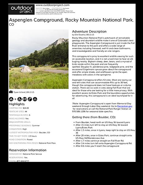 Aspenglen Campground Field Guide