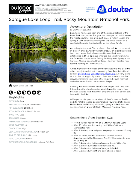 Sprague Lake Loop Hike Field Guide