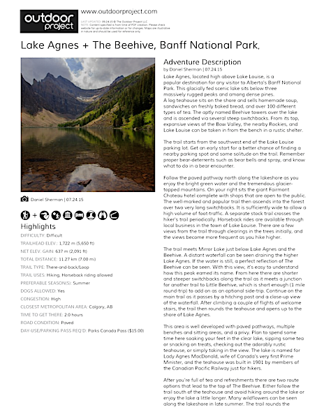 Lake Agnes + The Beehive Hike Field Guide