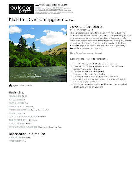 Klickitat River Campground Field Guide