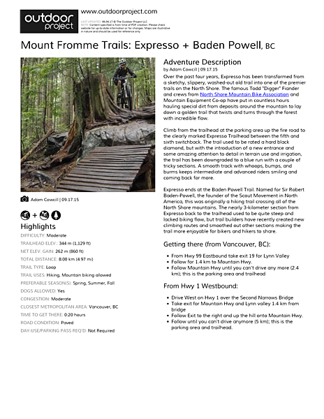 Mount Fromme Trails: Expresso + Baden Powell Field Guide