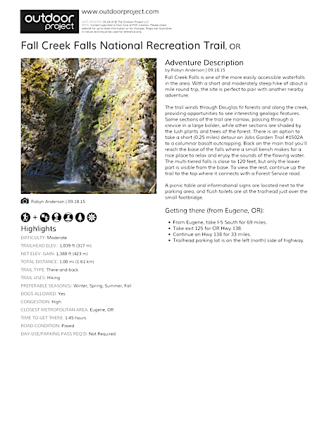Fall Creek Falls National Recreation Trail Field Guide