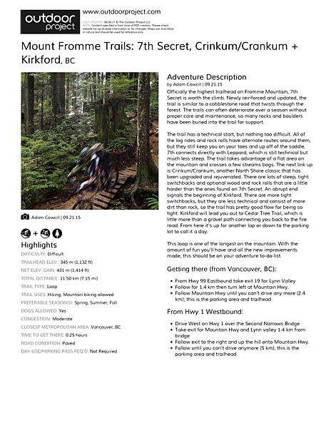 Mount Fromme Trails: 7th Secret, Crinkum/Crankum + Kirkford Field Guide