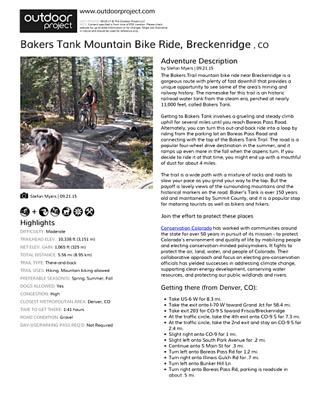 Bakers Tank Mountain Bike Ride Field Guide