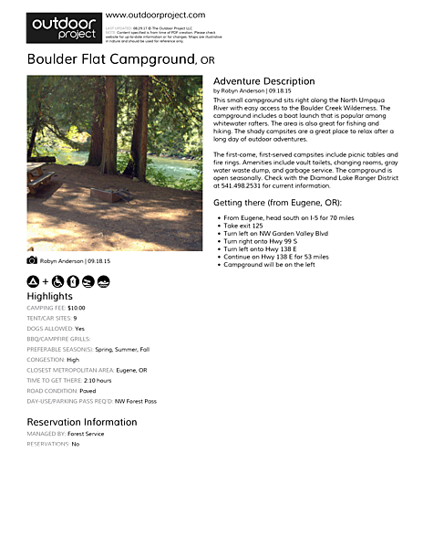 Boulder Flat Campground Field Guide
