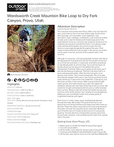 Wardsworth Creek Mountain Bike Loop to Dry Fork Canyon Field Guide