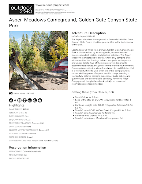Aspen Meadows Campground Field Guide