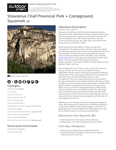 Stawamus Chief Provincial Park + Campground Field Guide
