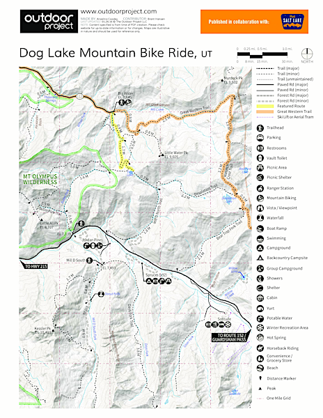 Dog Lake Mountain Bike Ride: Great Western Trail to Big Water Trail Map