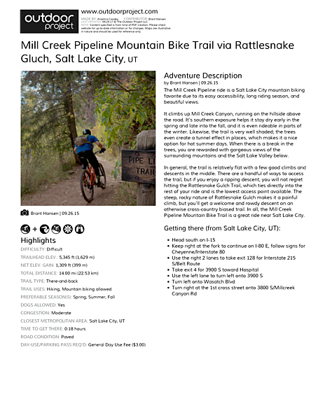 Mill Creek Pipeline Mountain Bike Trail via Rattlesnake Gluch Field Guide