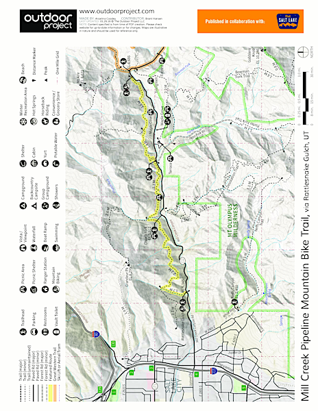 Mill Creek Pipeline Mountain Bike Trail via Rattlesnake Gluch Map