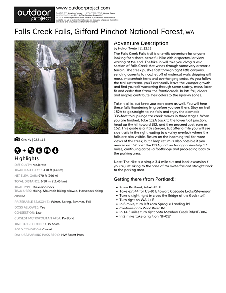 Falls Creek Falls Field Guide