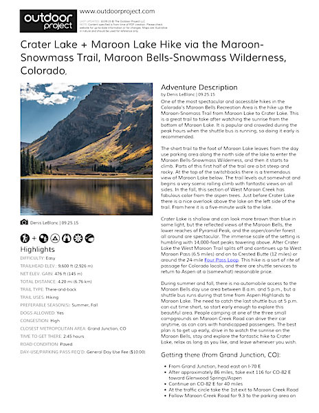 Crater Lake + Maroon Lake Hike via the Maroon-Snowmass Trail