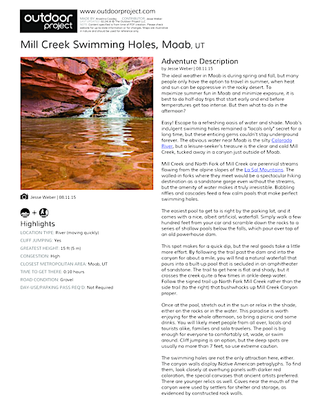 Mill Creek Swimming Holes   Outdoor Project