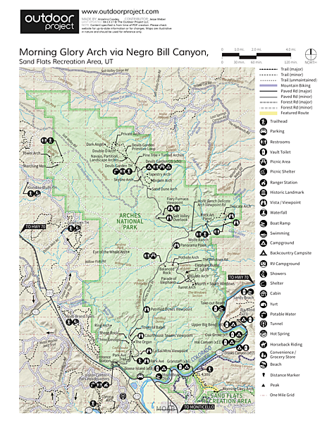 Morning Glory Arch Hike via Grandstaff Trail Trail Map