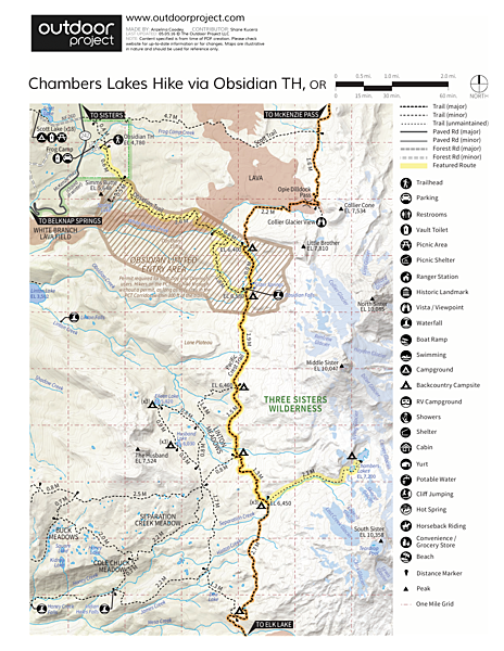 Chambers Lakes Hike via Obsidian Trailhead Trail Map