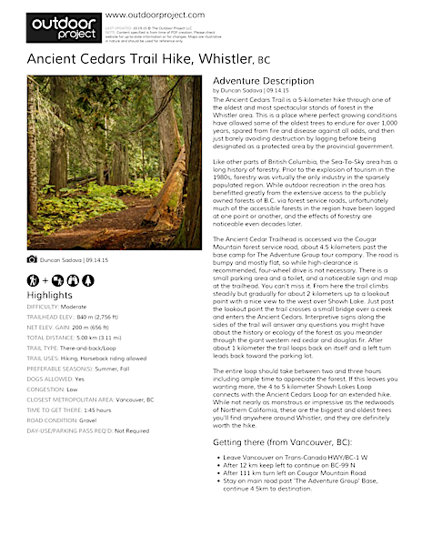 Ancient Cedars Trail Hike Field Guide
