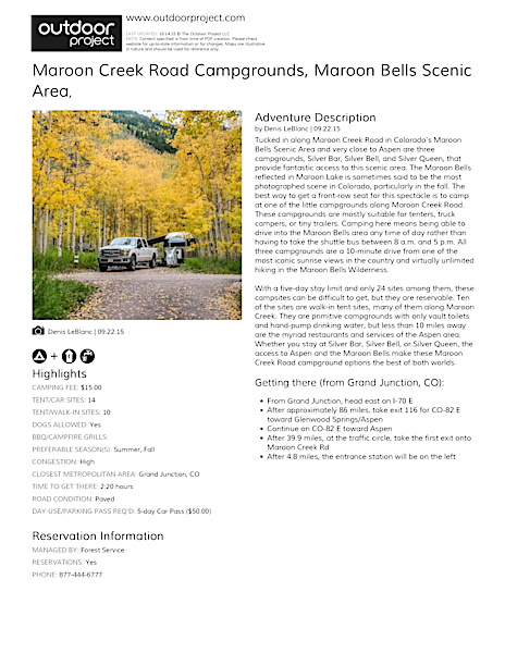 Maroon Creek Road Campgrounds Field Guide
