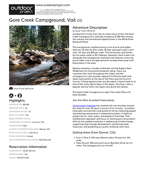 Gore Creek Campground Field Guide