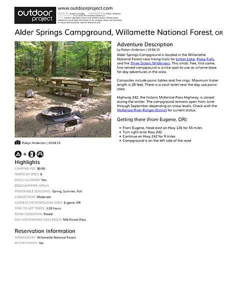 Alder Springs Campground Field Guide
