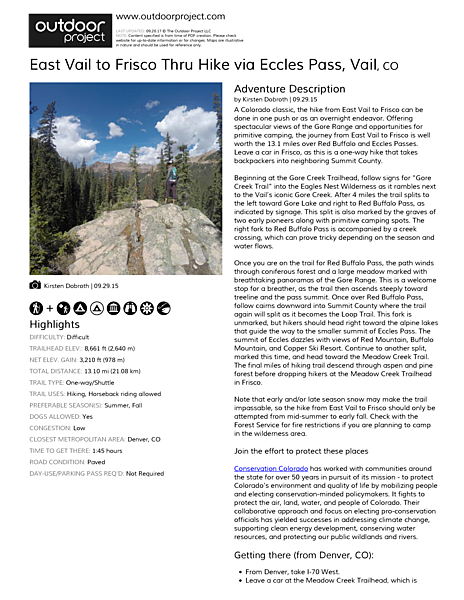 East Vail to Frisco Thru Hike via Eccles Pass Field Guide