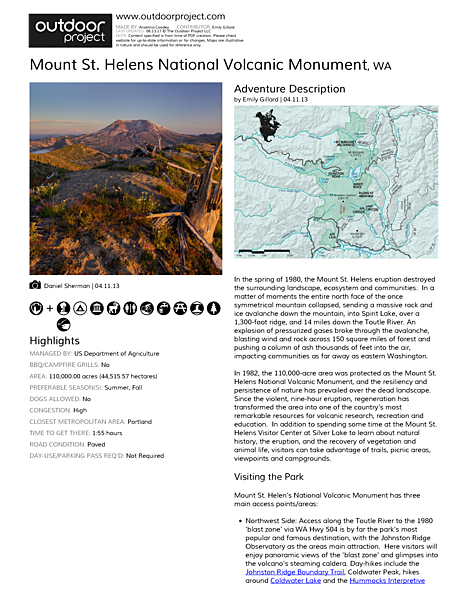 Mount St. Helens National Volcanic Monument Field Guide
