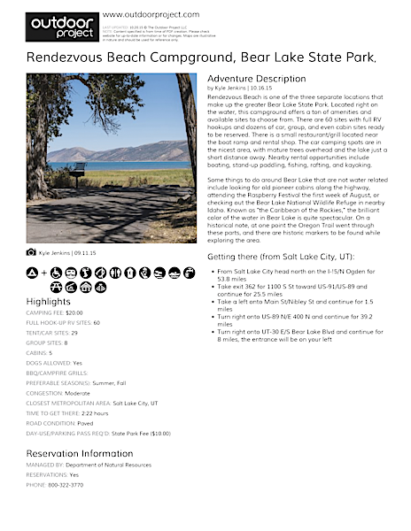 Rendezvous Beach Campground Field Guide