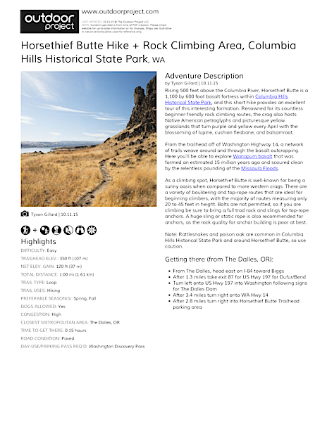 Horsethief Butte Hike + Rock Climbing Area Field Guide