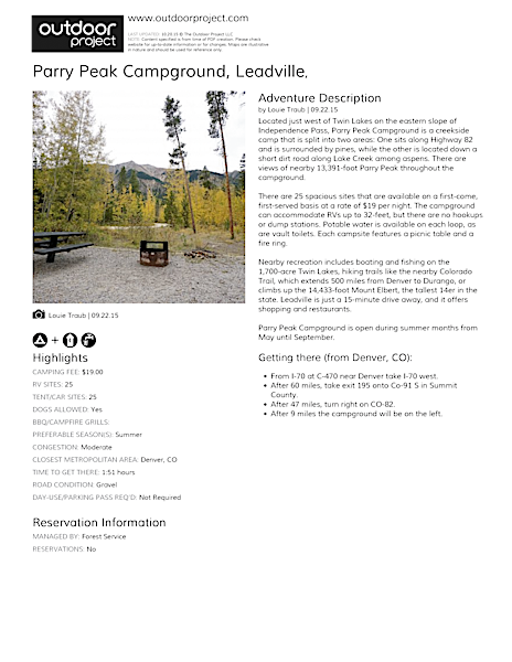 Parry Peak Campground Field Guide
