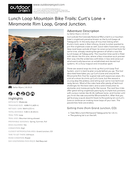 Lunch Loop Mountain Bike Trails: Curt's Lane + Miramonte Rim Loop Field Guide