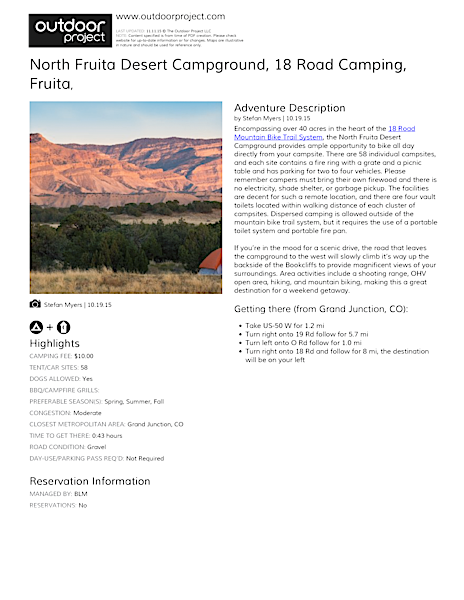 North Fruita Desert Campground, 18 Road Camping Field Guide