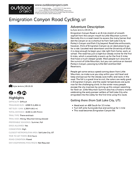 Emigration Canyon Road Cycling Field Guide