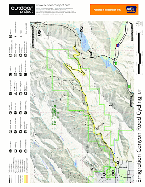 Emigration Canyon Road Cycling Map