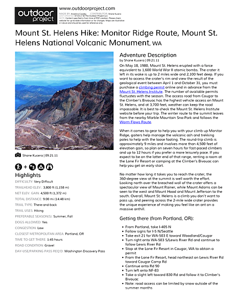 Mount St. Helens Hike: Monitor Ridge Route Field Guide