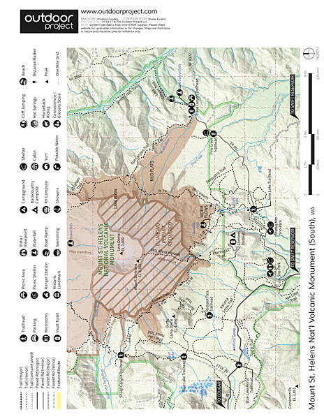 Mount St. Helens Hike: Monitor Ridge Route Trail Map