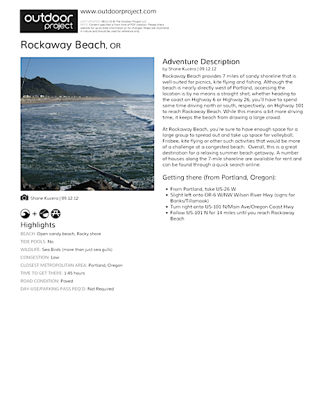 Rockaway Beach Field Guide