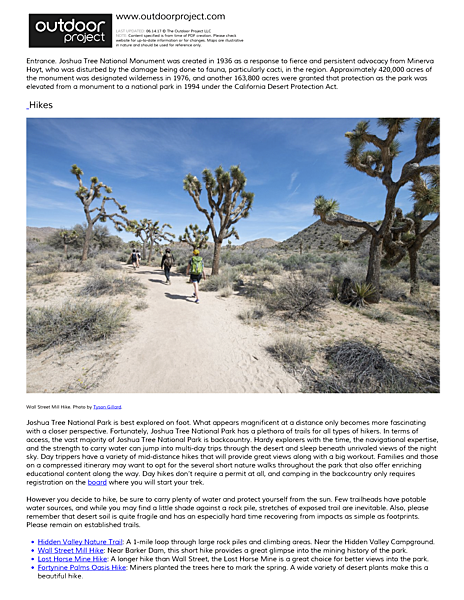 Joshua Tree National Park Field Guide