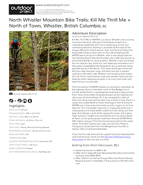 North Whistler Mountain Bike Trails: Kill Me Thrill Me + North of Town Field Guide