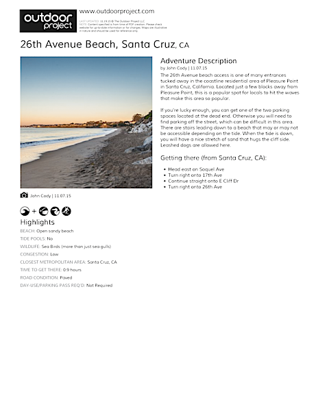 26th Avenue Beach Field Guide