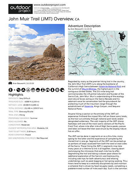 John Muir Trail (JMT) Overview Field Guide