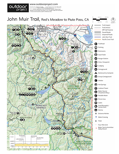 John Muir Trail (JMT) Overview Trail Map