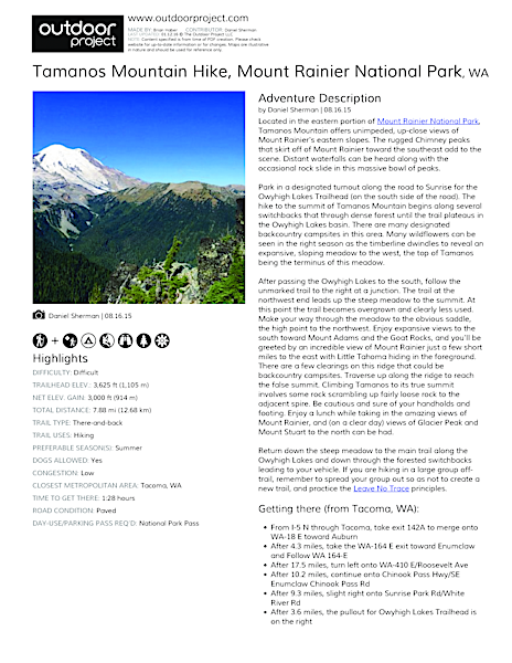 Tamanos Mountain Hike Field Guide