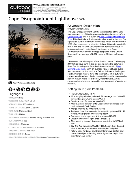 Cape Disappointment Lighthouse Field Guide