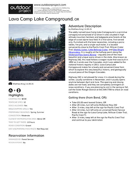 Lava Camp Lake Campground Field Guide