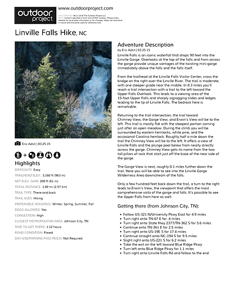 Linville Falls Hike Field Guide