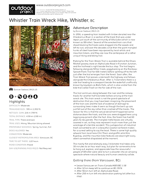 Whistler Train Wreck Hike Field Guide