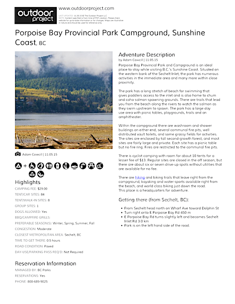 Porpoise Bay Provincial Park Campground Field Guide