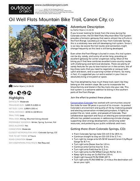 Oil Well Flats Mountain Bike Trail Field Guide