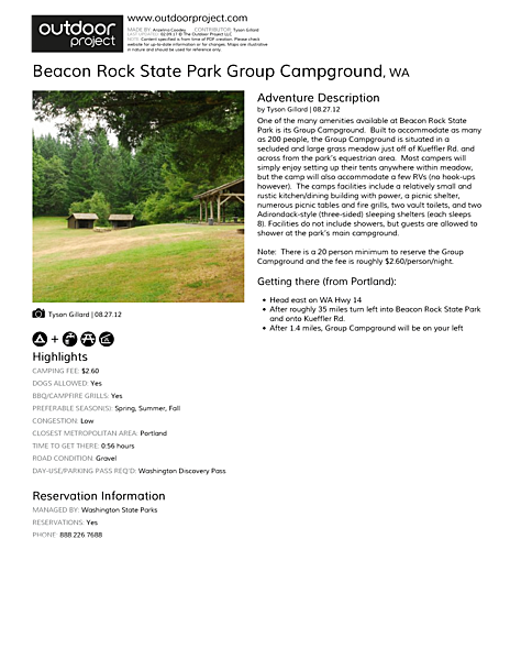 Beacon Rock State Park Group Campground Field Guide