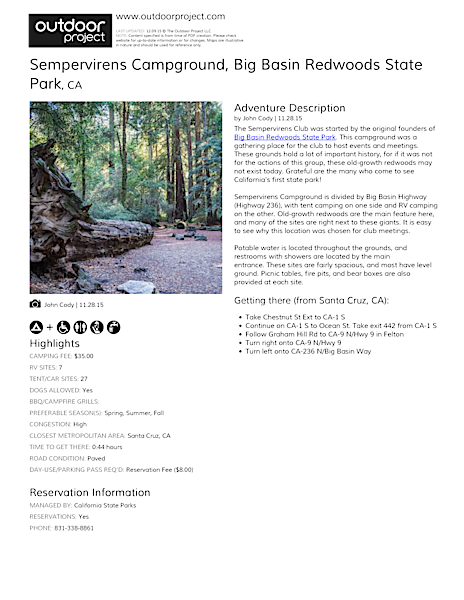 Sempervirens Campground Field Guide